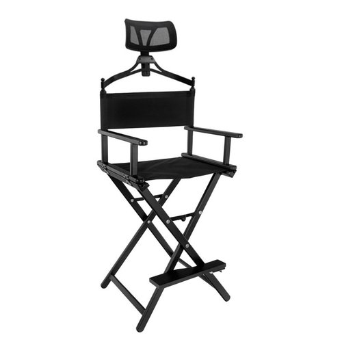 CHAIR FOR MAKE-UP LOOK WITH ALUMINUM BLACK HEADREST