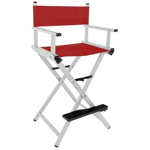CHAIR FOR GLAMOR MAKE-UP ALUMINUM SILVER WITH RED MATERIAL